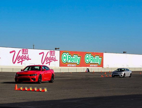 charger widebodies on a driving course