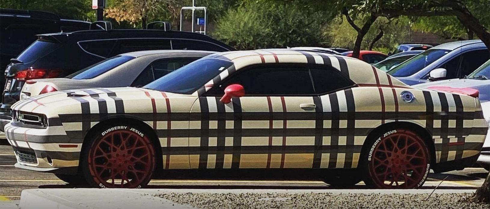burberry patterned dodge challenger