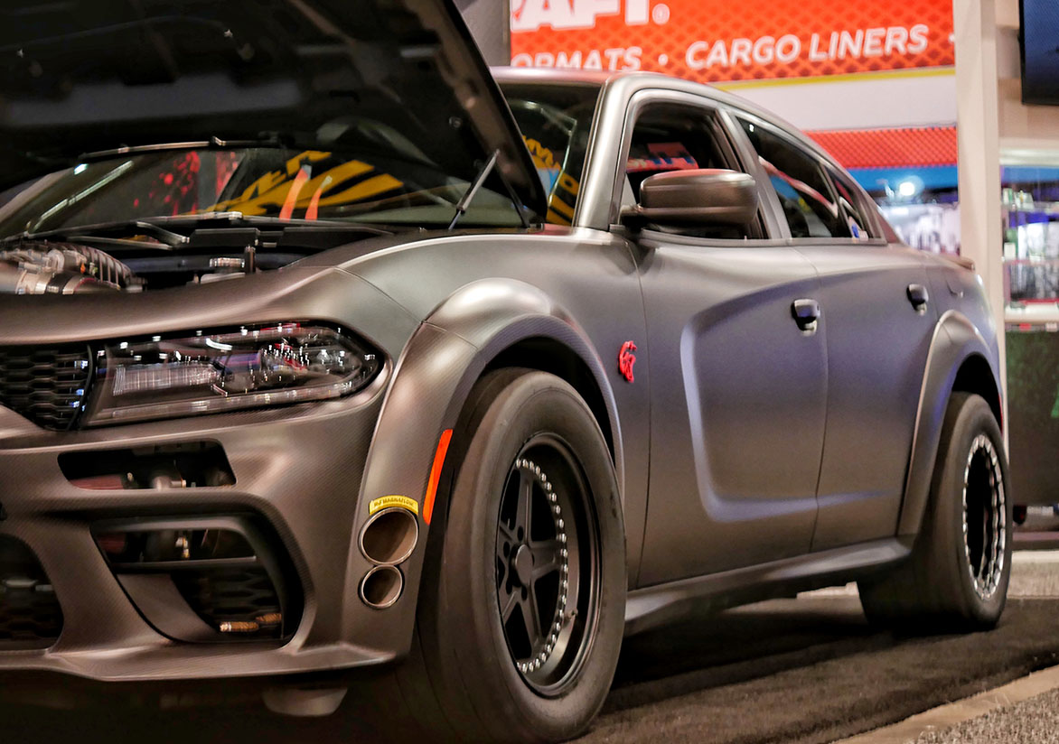 Speedkore's carbon fiber all-wheel-drive twin turbo SRT Demon powered Widebody Charger at SEMA.
