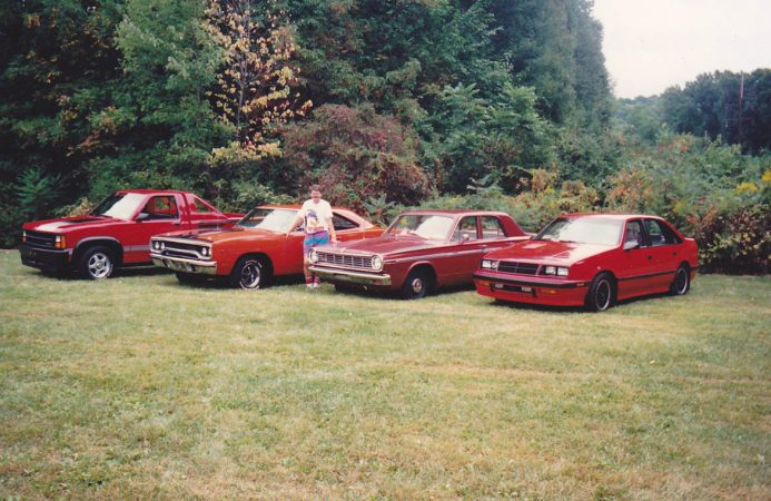 Row of vehicles