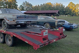Row of three old Mopar barn finds