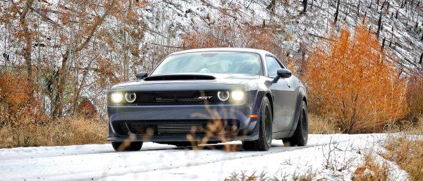 Challenger on snow covered road