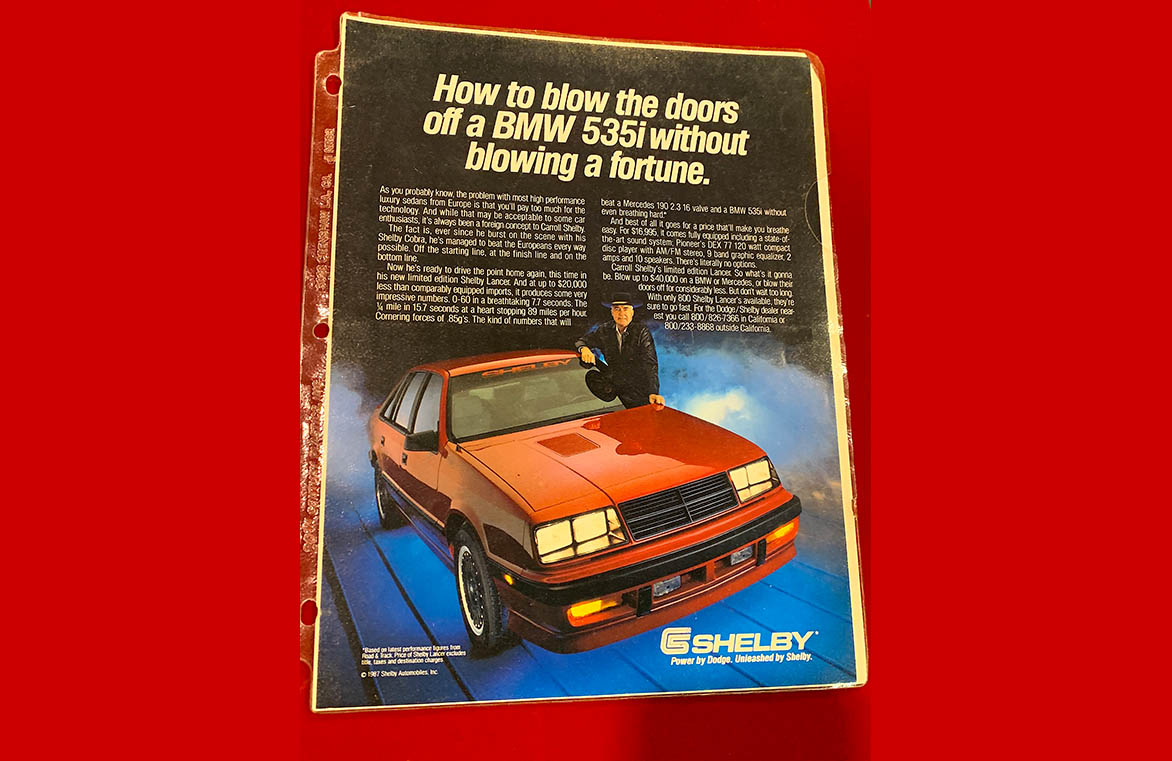 Old advertisement for Shelby Lancer