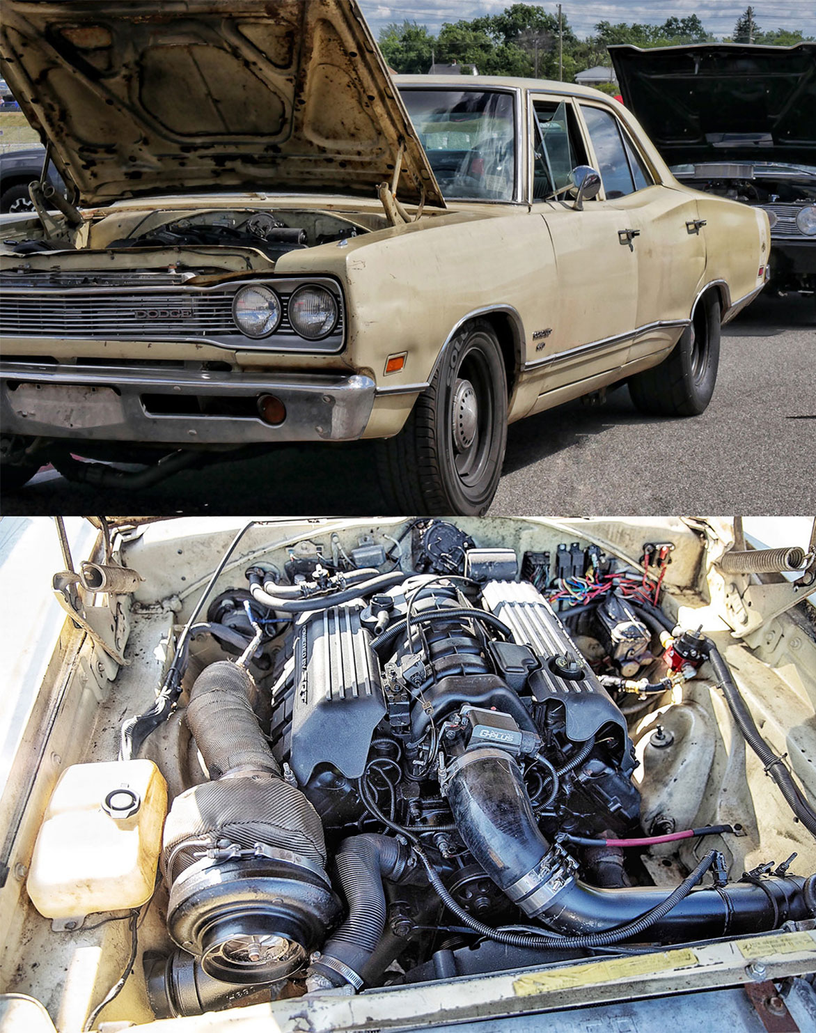 "As seen at Roadkill Nights Powered by Dodge: This 1969 Coronet has an SRT Hellcat shortblock, heads and other parts from a gen 3 HEMI® engine and a giant turbo. ""Wanna Bee"" is an ongoing project from a dude named Corey with the Fuel Injection Sucks YouTube channel."