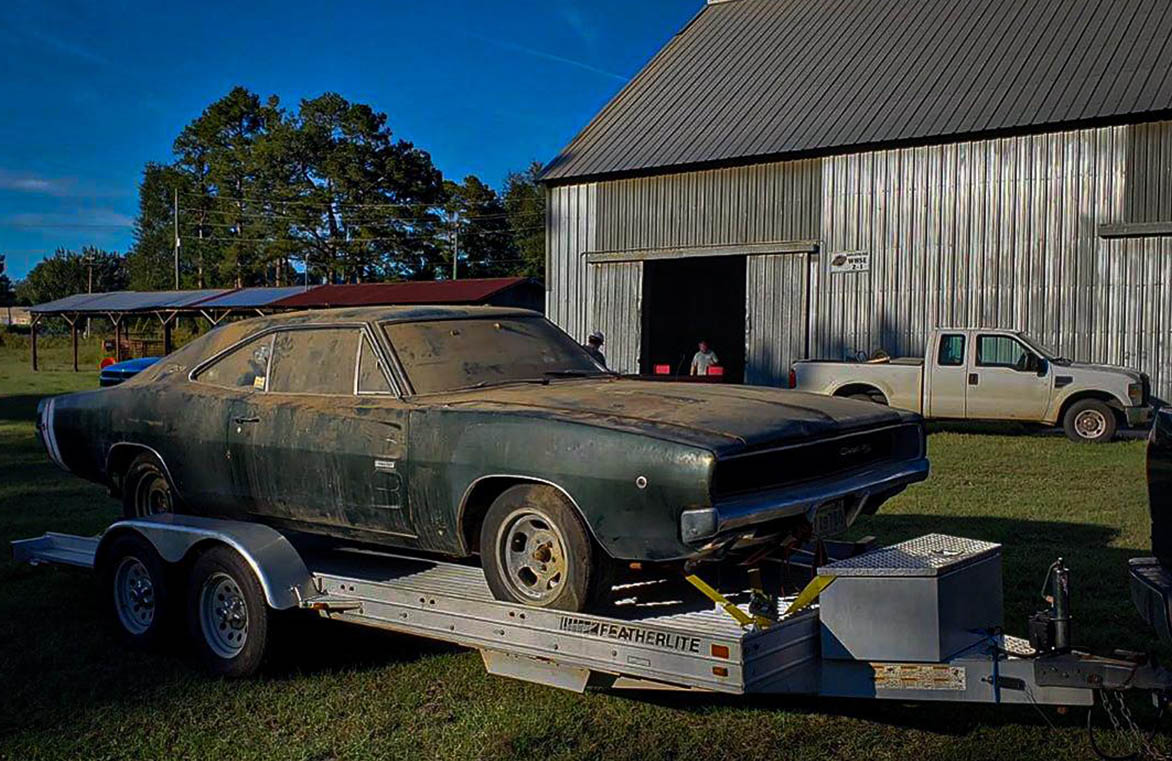 Old Charger R/T on a flat bed truck