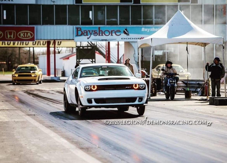 Dodge vehicle on a drag strip