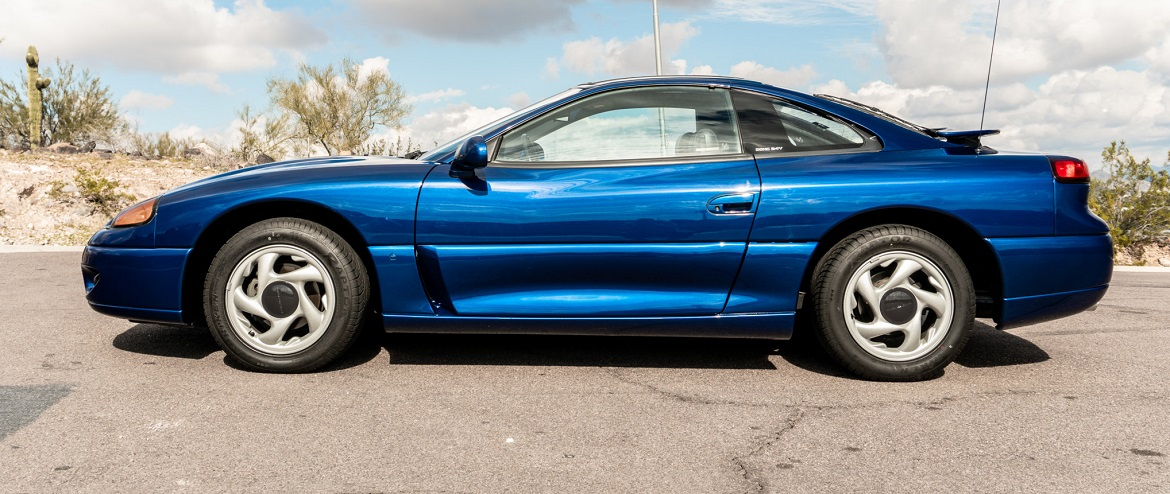 Side view of blue Dodge Stealth