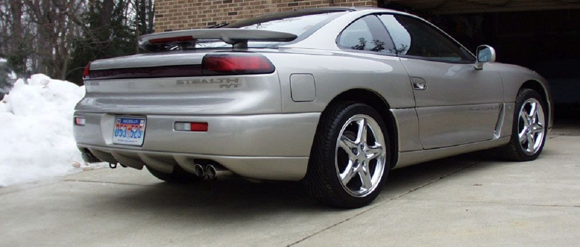 Rear end of silver Dodge Stealth