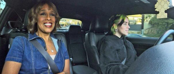 gayle king and billie eilish in a dodge challenger