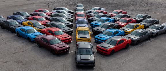 dodge vehicles arranged in a diamond