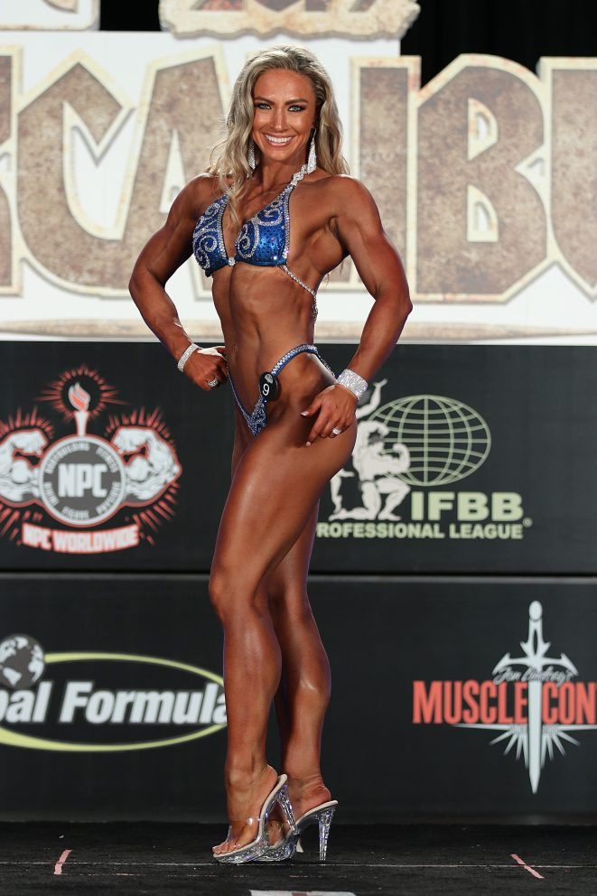 woman on a body building stage