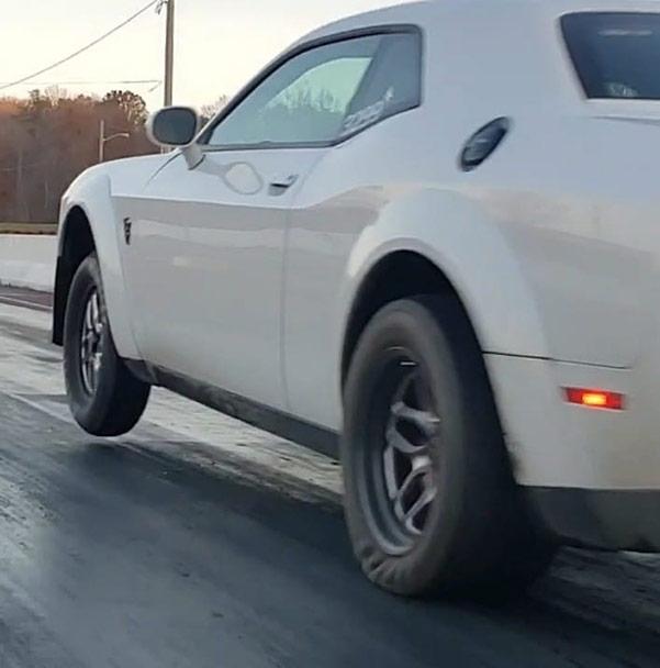 Dodge vehicle on two wheels