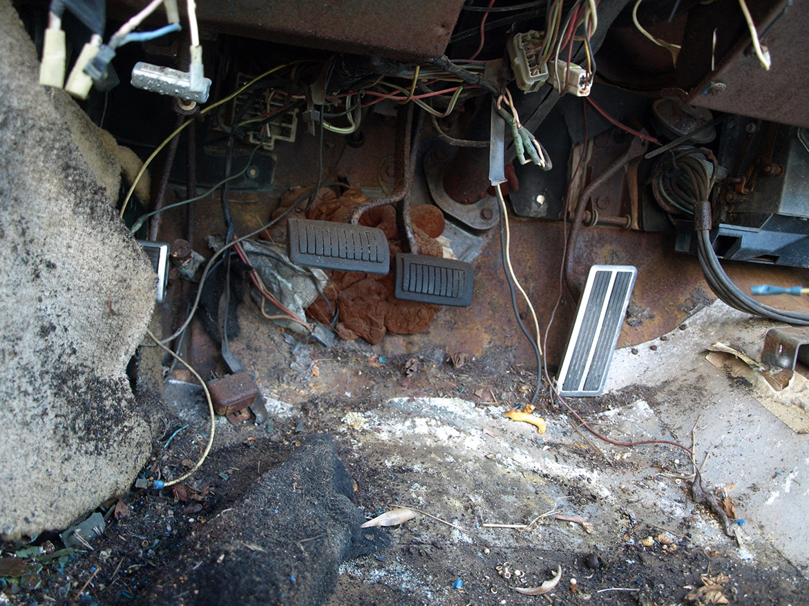 discarded vehicle interior