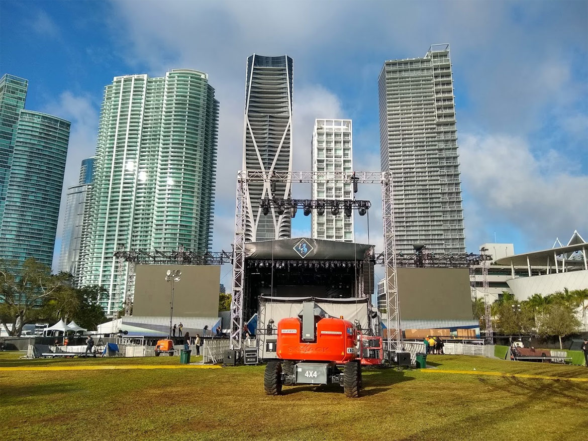 City skyline behind the event stage