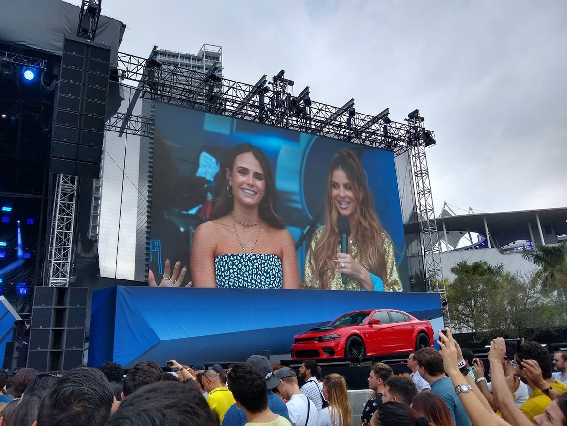 Event hosts on a screen