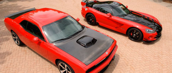 Dodge Viper parked next to a Dodge Challenger