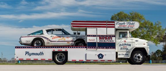 drag car hauler and drag car
