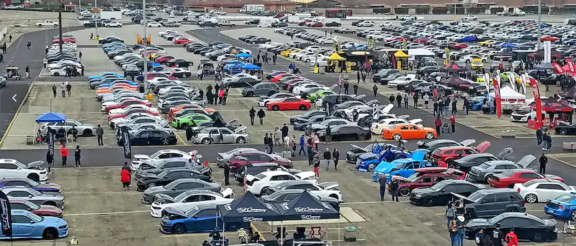 field filled with cars