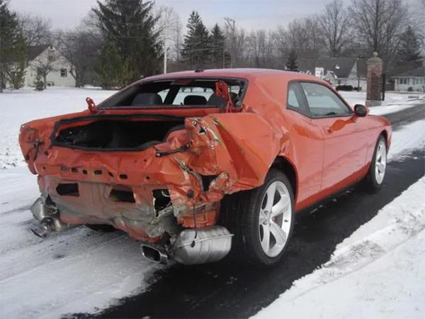 damaged back end of a vehicle