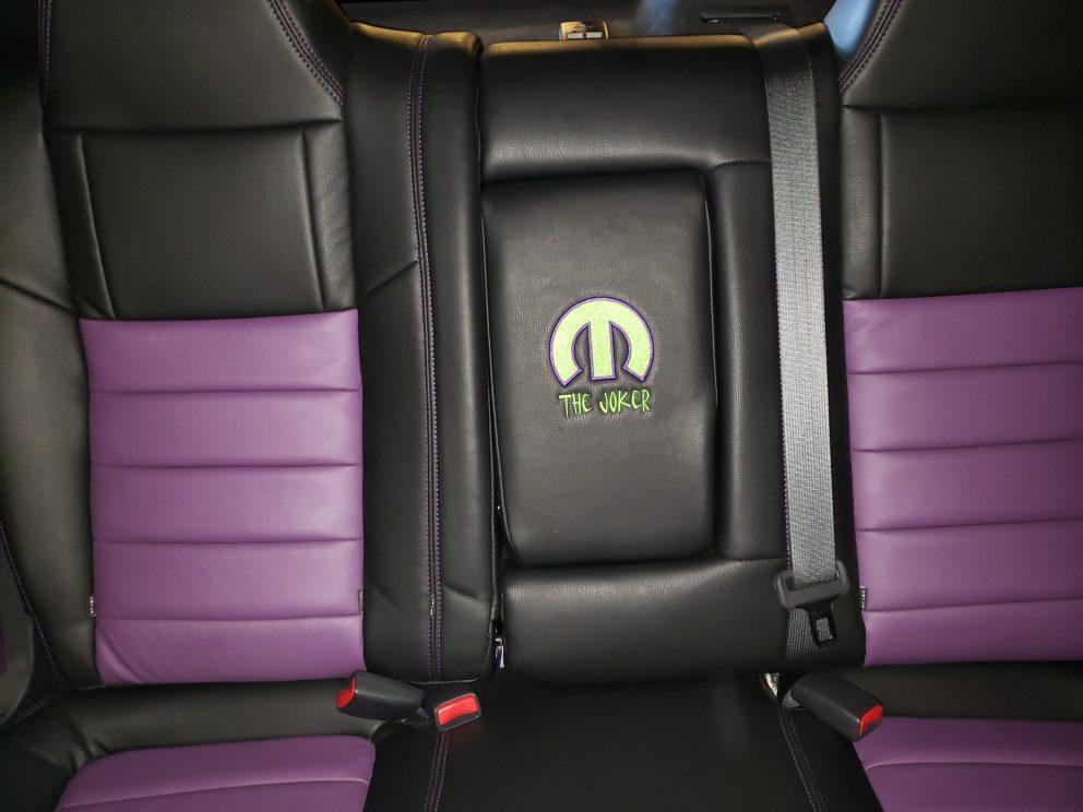 mopar emblem stitched into vehicle seat