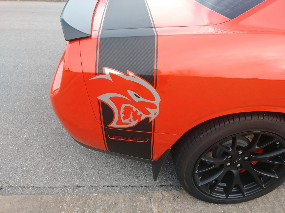 hellcat decal on vehicle