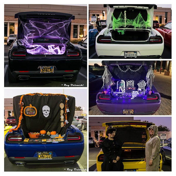 vehicle trunks decorated for halloween