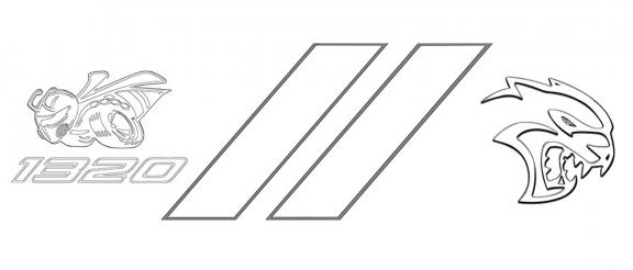 Dodge 1320, rhombus & hellcat logo