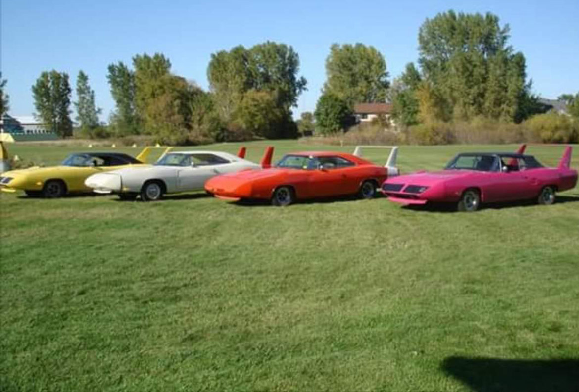 plymouth superbird vehicles on display