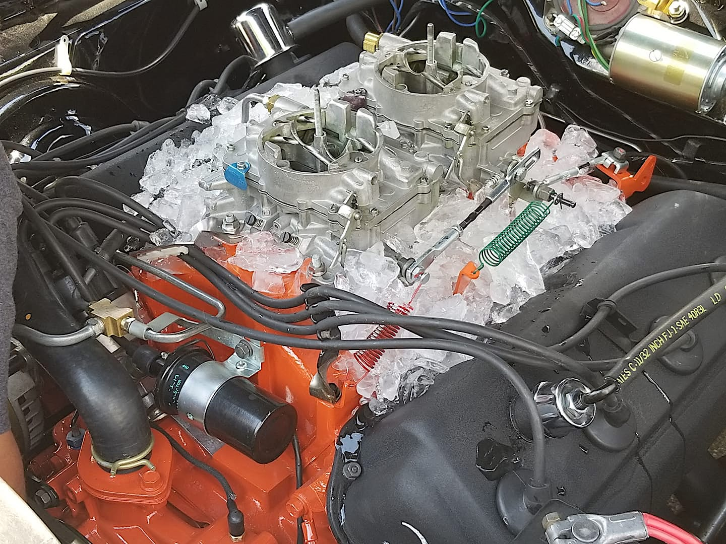 vehicle engine being cooled down with ice