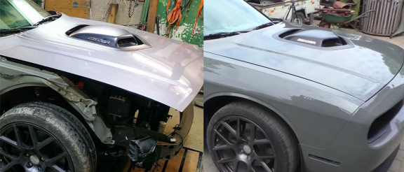 damaged dodge challenger before and after