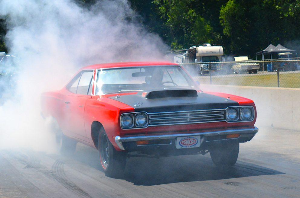 vehicle doing a burnout