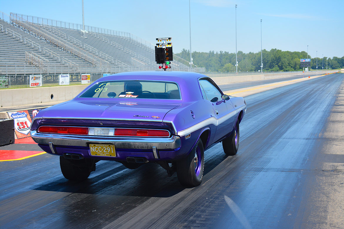 vehicle on a drag strip starting line
