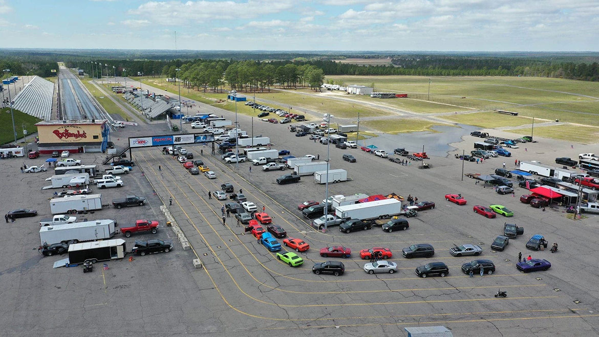dodge vehicles lined up in staging lanes