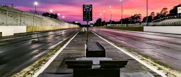 empty drag strip at sunset