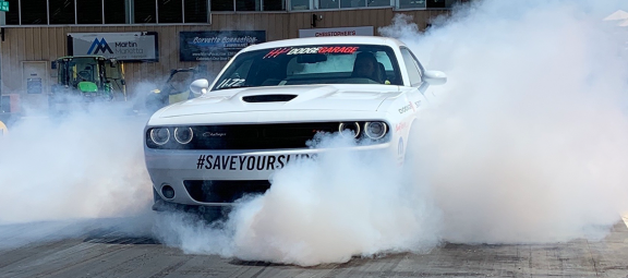 Dodge Challenger doing a burnout
