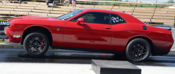 Dodge Challenger on a drag strip