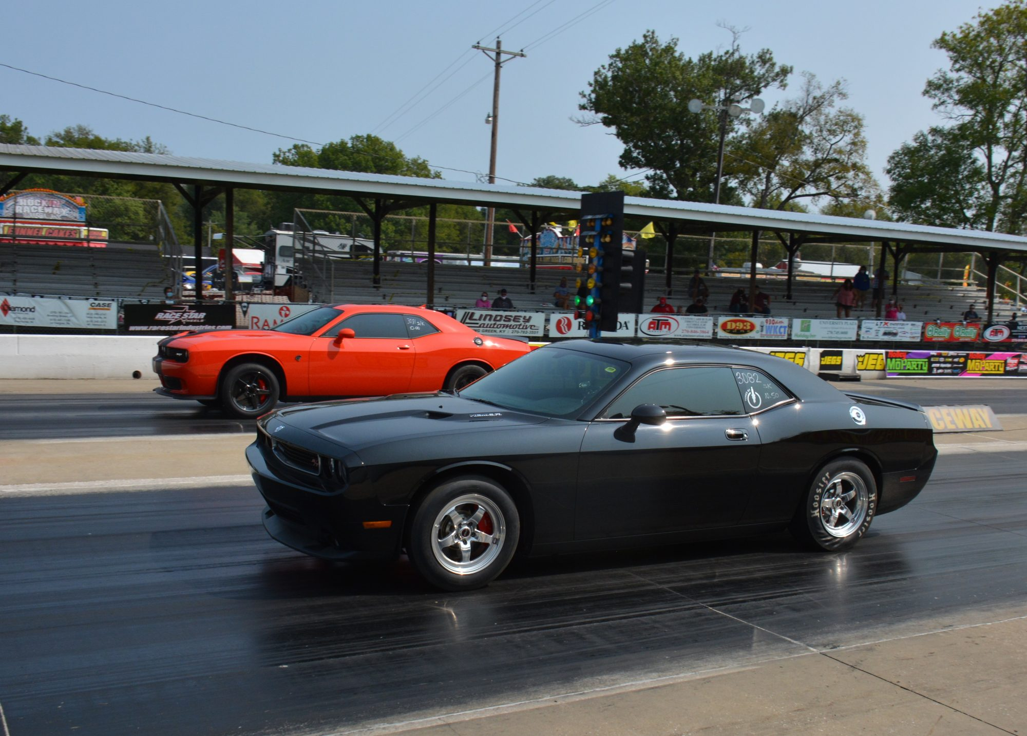 2 Challengers racing each other