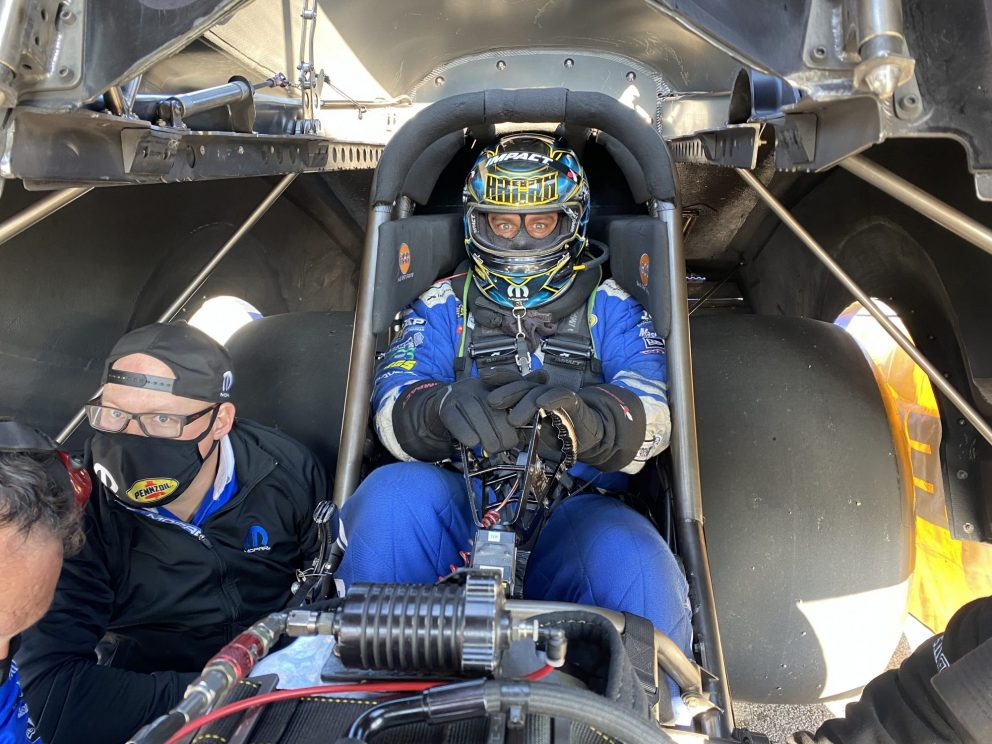 Matt Hagan getting ready to race