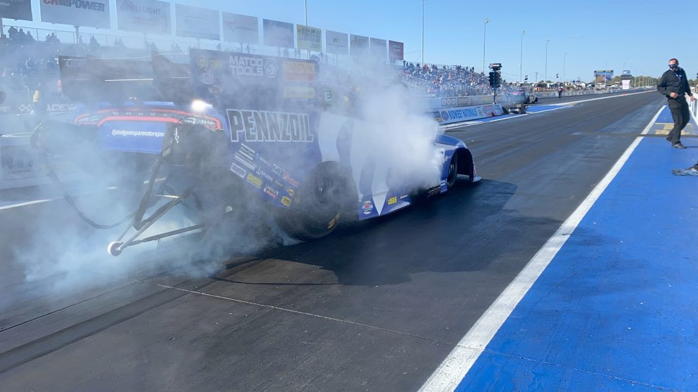 Matt Hagan doing a burnout