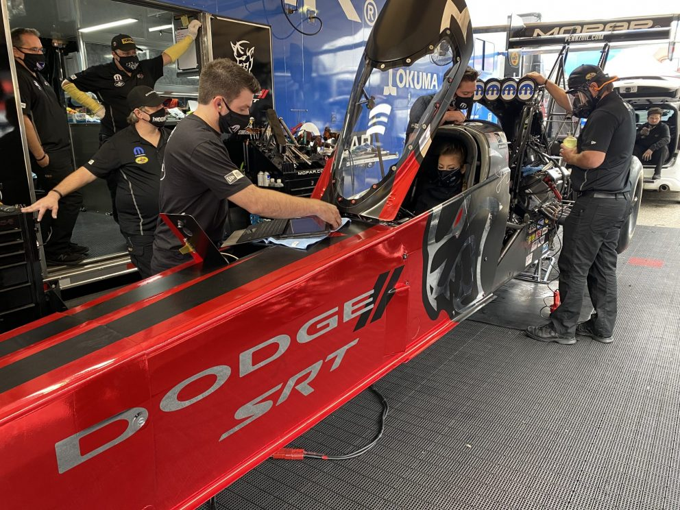 DSR crews working on Leah's top fuel dragster