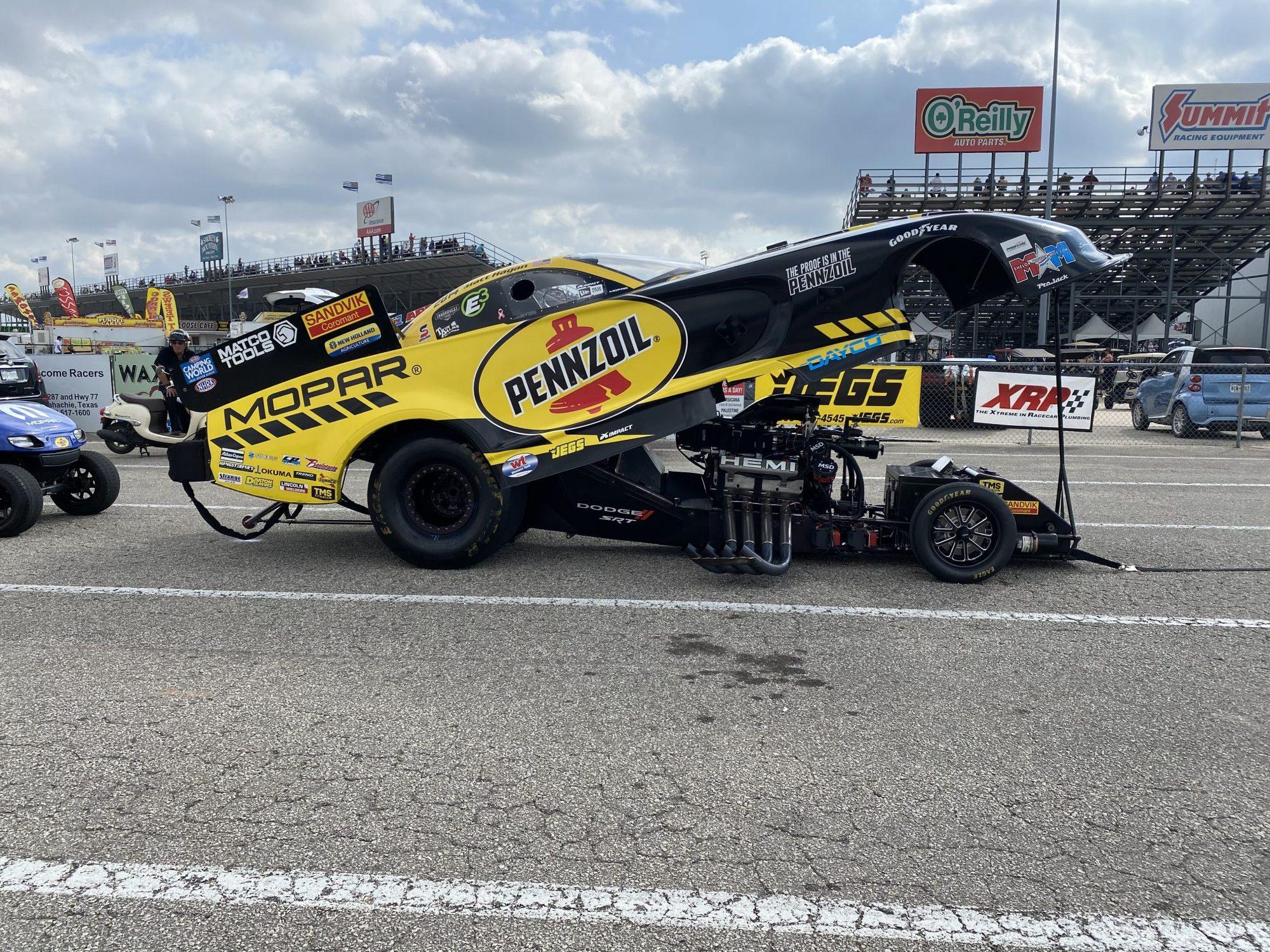 Matt Hagan's car waiting to race