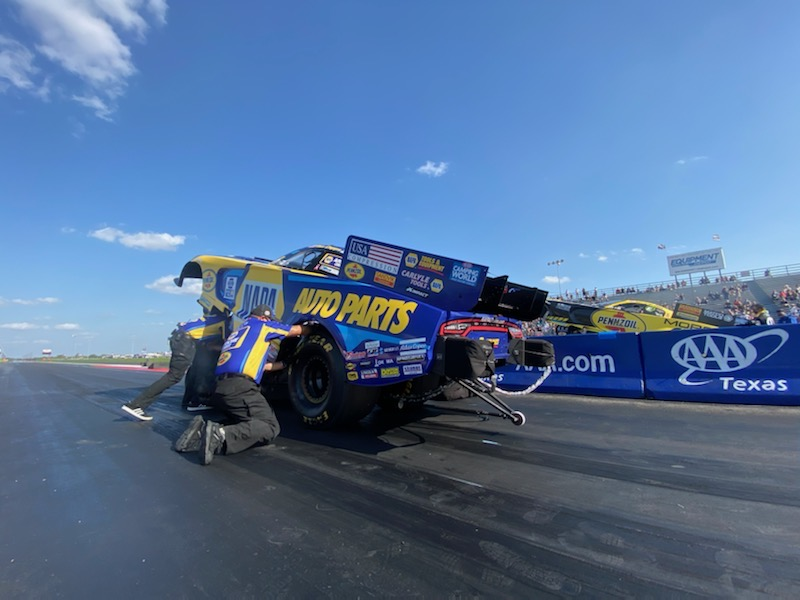 Ron Capps' team working on his funny car