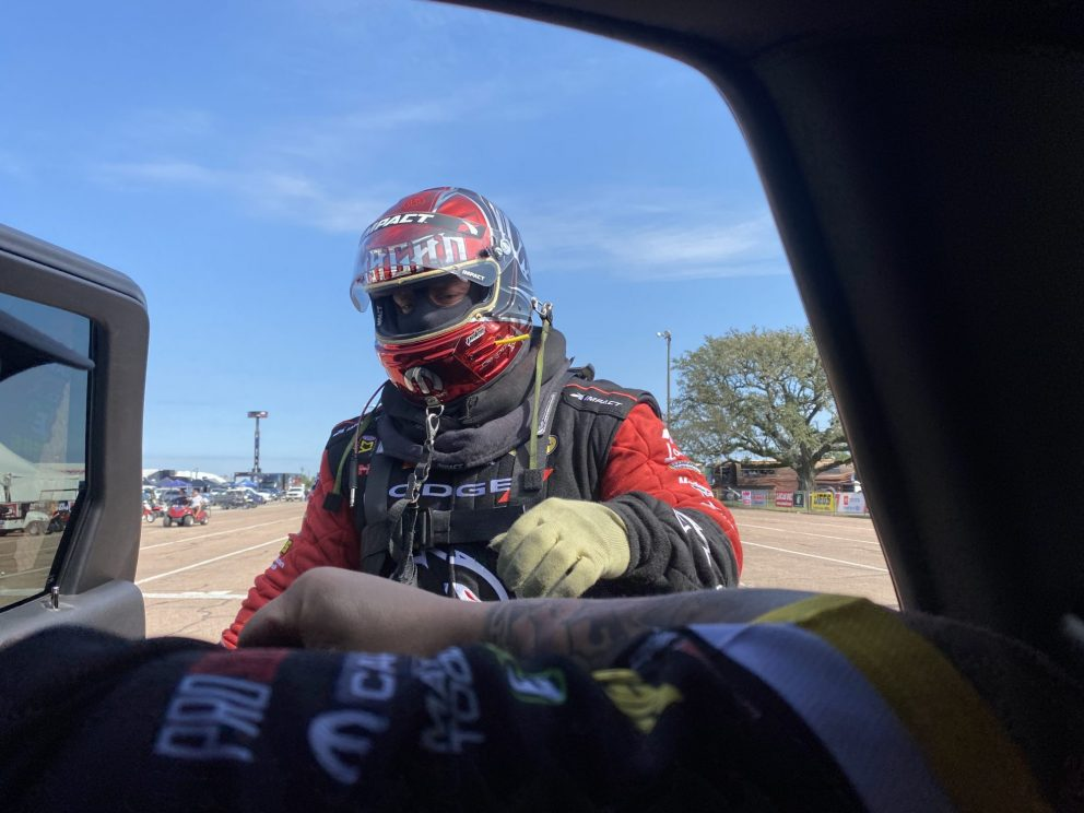 Matt Hagan suiting up for the race