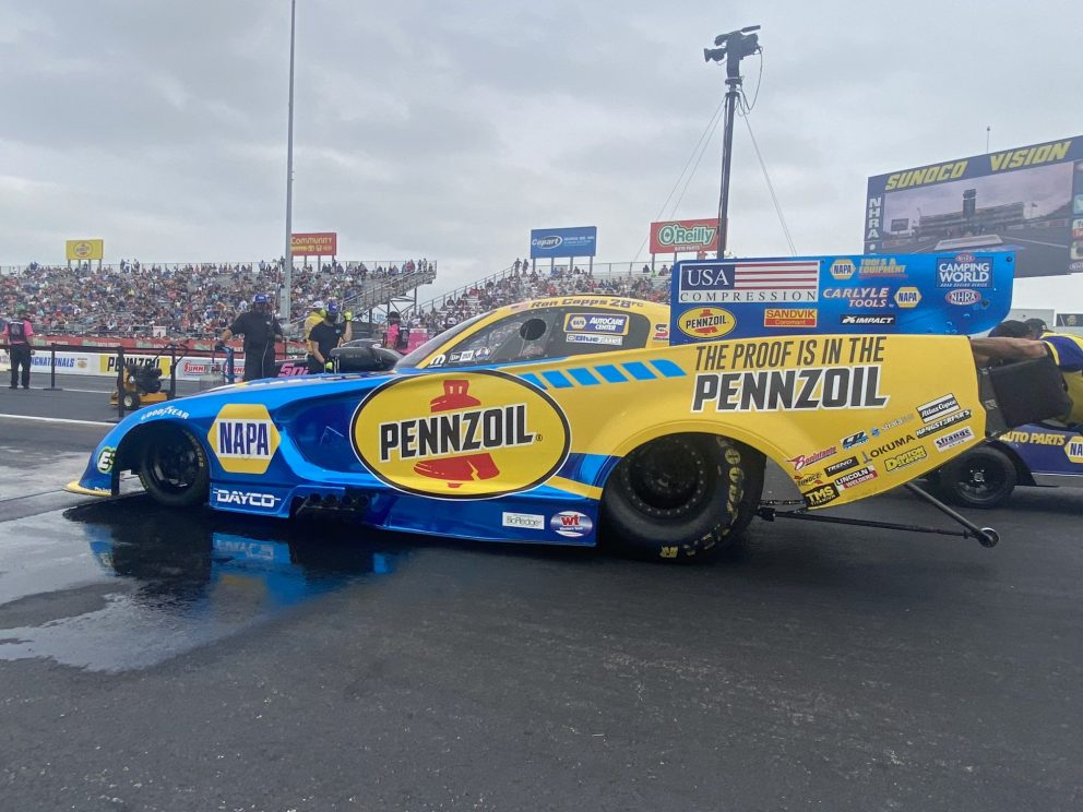 Ron Capps getting ready to race