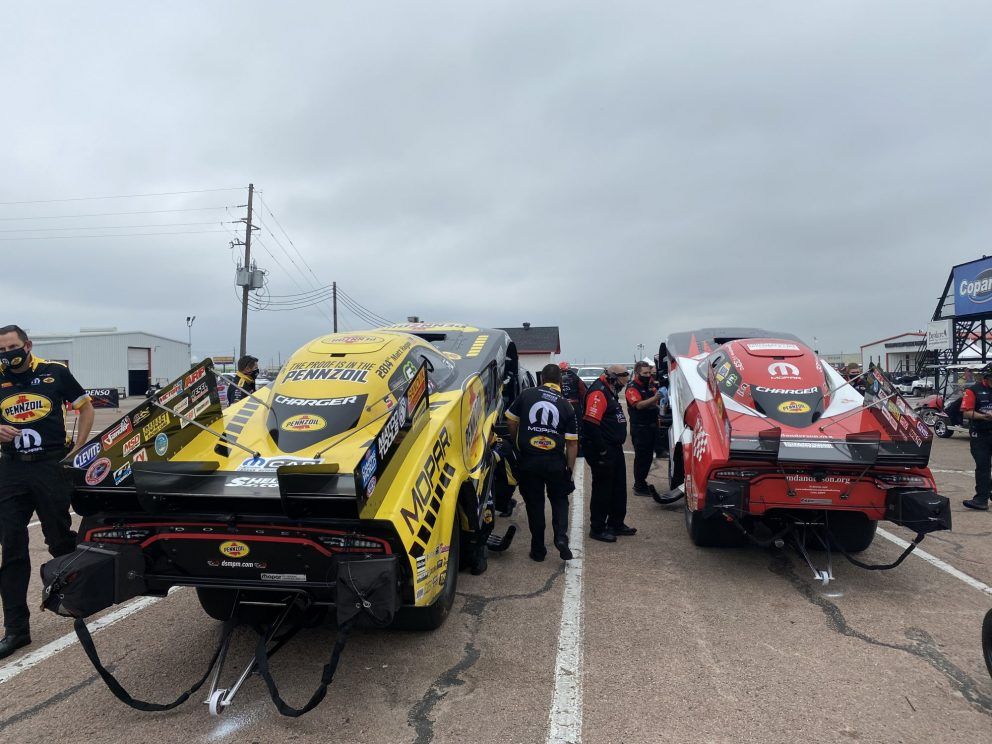 DSR crews getting funny cars ready to race
