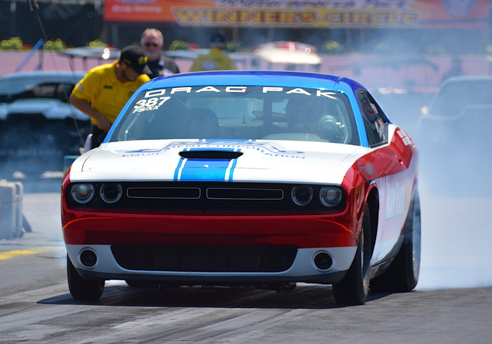 Challenger Drag Pak doing a burnout