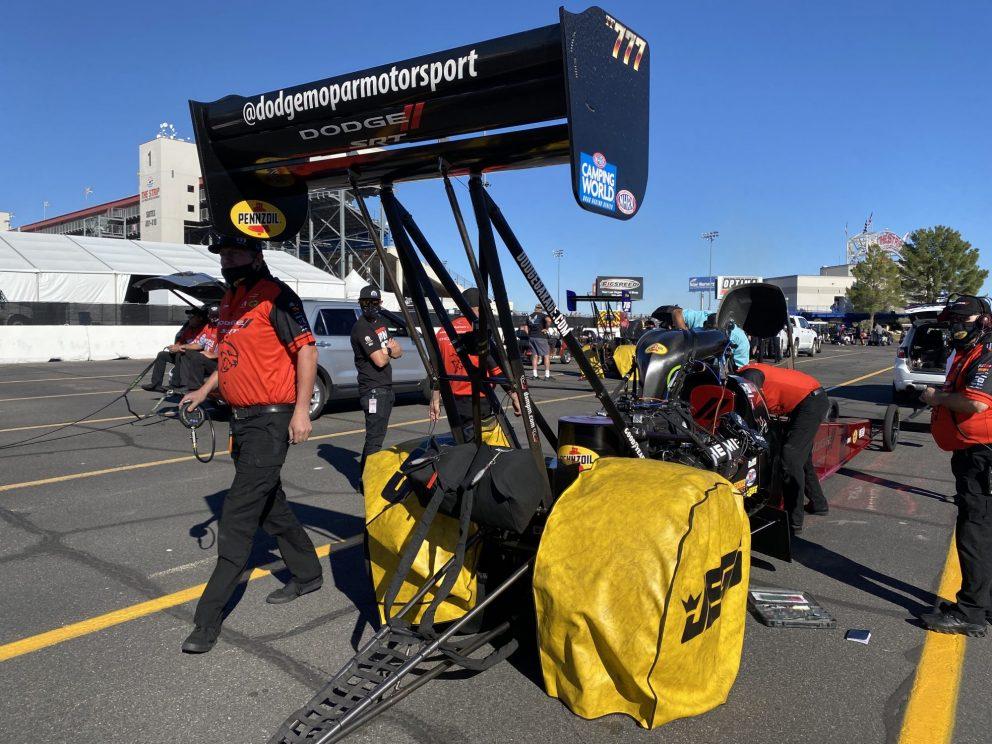 Leah Pruett's team working on her car