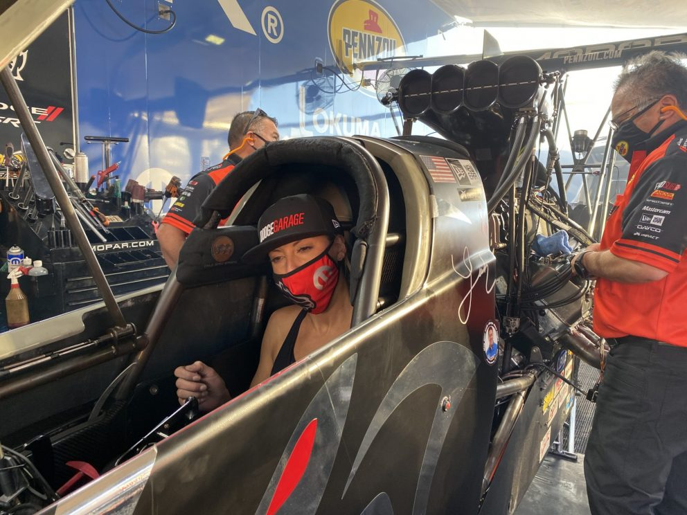 Leah Pruett's team working on her top fuel dragster