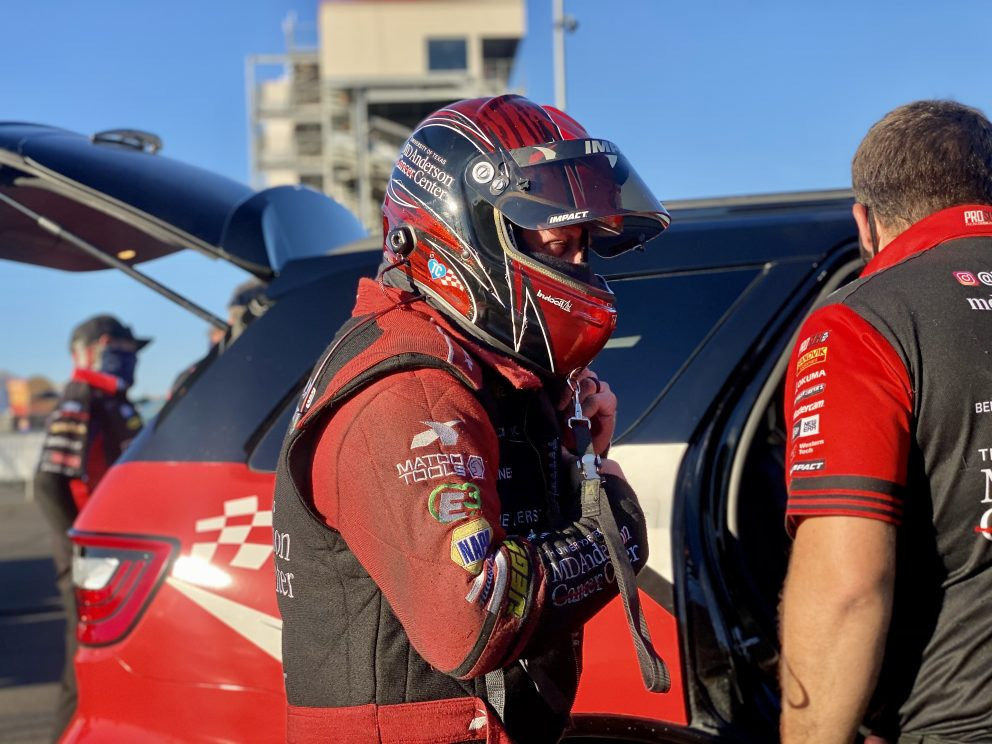 Tommy Johnson Jr suiting up to race