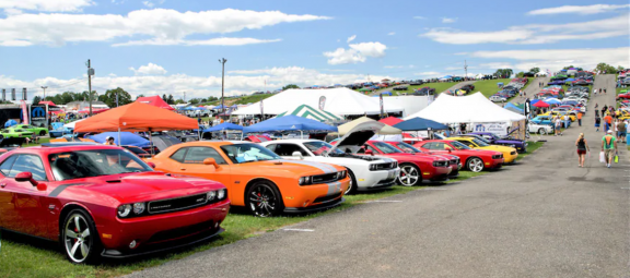 Mopar vehicles on display
